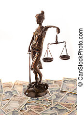 Justice and the yen. Symbol for legal costs