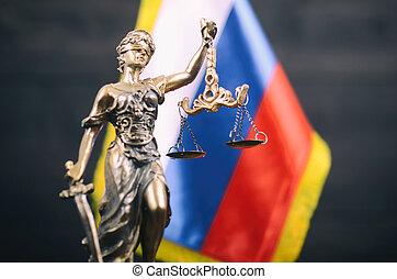 justice, arrière-plan., drapeau, devant, russe, dame