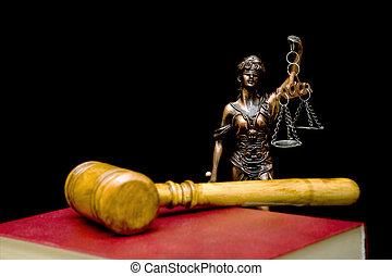 justice, arrière-plan., noir, statue