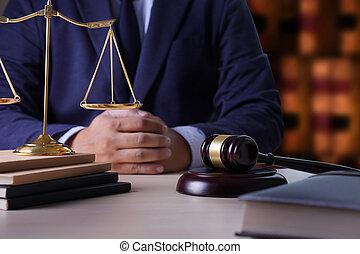 justice, avocats, fonctionnement, marteau, juge, avocat, concept