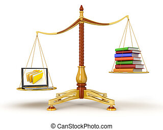 Justice Balance with Books, Laptop