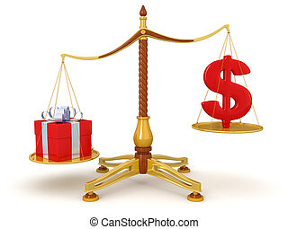 Justice Balance  with Dollar, gift