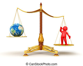 Justice Balance  with Globe and man