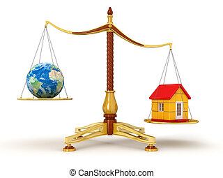 Justice Balance with Globe, house