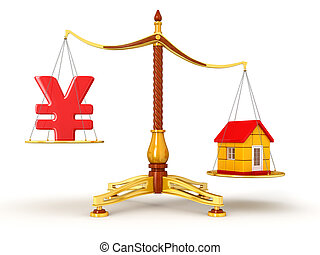 Justice Balance with Yen and house