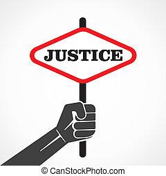 justice, bannière, prise, mot, main