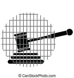 justice, barres, marteau