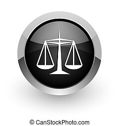 justice black chrome glossy web icon