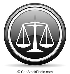 justice black glossy icon on white background