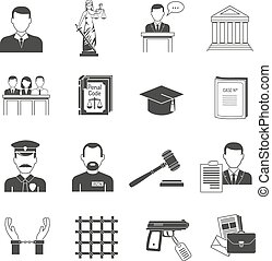 Justice black icons set - Legal justice verbal process black...