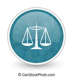 Justice brillant crystal design round blue web icon.