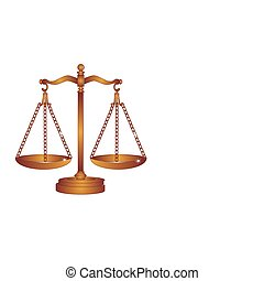 Copper or Bronze scales of justice weigh out all around, with the reflections shining down.