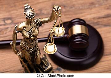 justice, brun, marteau, statue