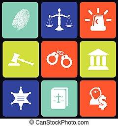 justice, carrée, icônes