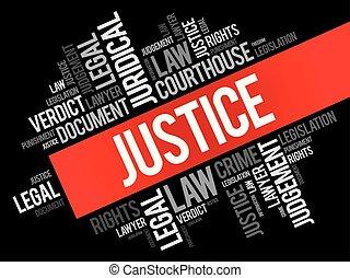 justice, collage, mot, nuage