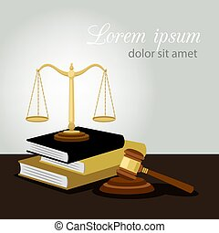 Justice concept. Justice scales, judge gavel and law books vector illustration, legal and anti crime symbol