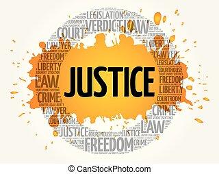 justice, concept, mot, nuage