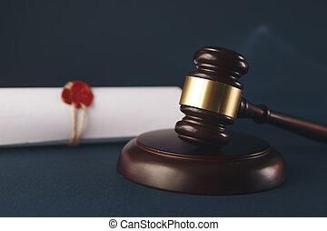 justice, concept., système, légal, courtroom., marteau, droit & loi