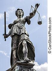 justice, dame, francfort, allemagne