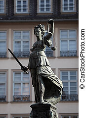 justice, dame, principal, statue, allemagne, francfort