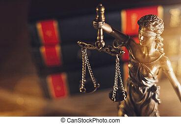 justice, dame, statue, bureau, avocat