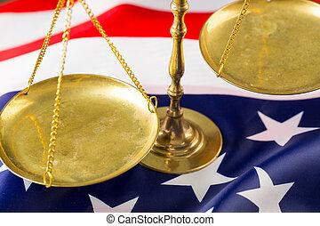 justice, de, échelle, à, drapeau américain