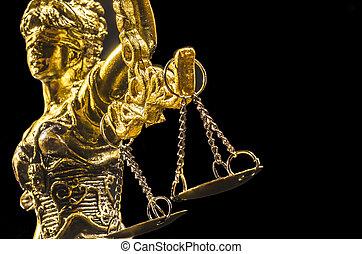justice, doré, dame, statue