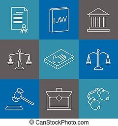 justice, droit & loi, légal, linéaire, icons., ligne, juridique, signes, mince