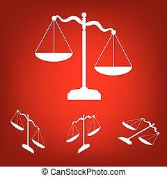 justice, effet, isométrique, set., balances