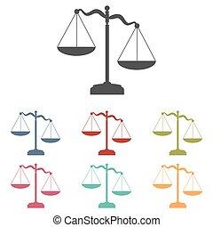 justice, ensemble, balances, icônes