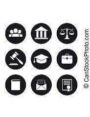 justice, ensemble, noir, icons., droit & loi