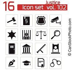 justice, ensemble, noir, vecteur, icônes