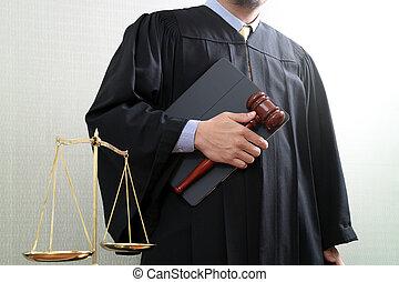 justice, et, droit & loi, concept.male, juge, dans, a, salle audience, à, les, marteau, et, balance équilibre, et, livre saint, et, tablette numérique, informatique