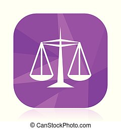 Justice flat vector icon. violet web button. internet square sign. modern design symbol in eps 10.