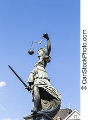 justice, francfort, dame, allemagne, statue