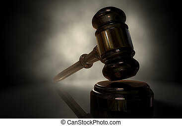 Justice Gavel - A regular wooden auctioneers hammer or...