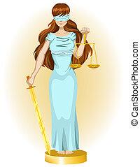 Justice girl. Illustration in vector format EPS
