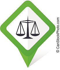 Justice green square pointer vector icon in eps 10 on white background with shadow.
