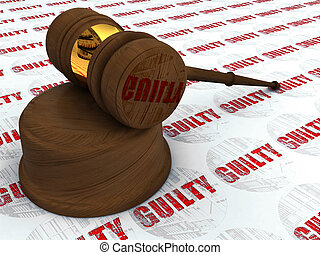 Justice hammer and guilty - Classic wooden judge\'s gavel,...