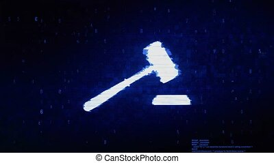Justice, Hammer Judge Court, law Symbol Abstract Digital Pixel Noise Glitch Error Video Damage Signal Loop 4K Animation.