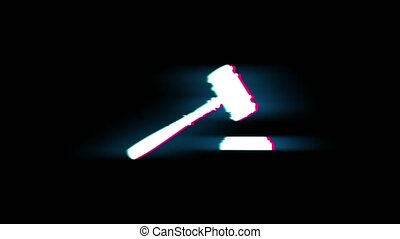 Justice, Hammer Judge Court, law Symbol on Glitch Led Screen Retro Vintage Display Animation 4K Animation Seamless Loop Alpha Channel.