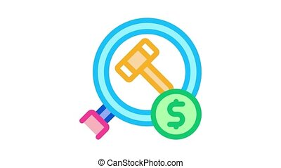 justice hammer research Icon Animation. color justice hammer research animated icon on white background