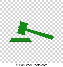 Justice hammer sign. Dark green icon on transparent background.