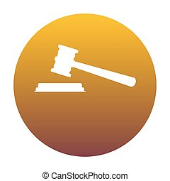 Justice hammer sign. White icon in circle with golden gradient a