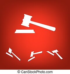 Justice hammer vector icon set