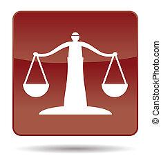 justice, icône, balances