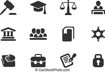 justice, icônes, droit & loi, ensemble