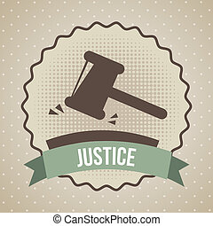 justice icon over beige background. vector illustration