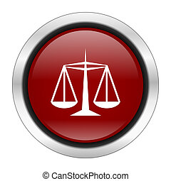 justice icon, red round button isolated on white background, web design illustration