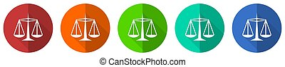 Justice icon set, red, blue, green and orange flat design web buttons isolated on white background, vector illustration